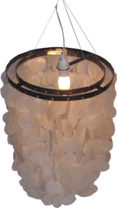Ceiling lamp/ceiling light, shell lamp made of hundreds of Capiz, mother of pearl plates - Model Samoa - 40x30x30 cm