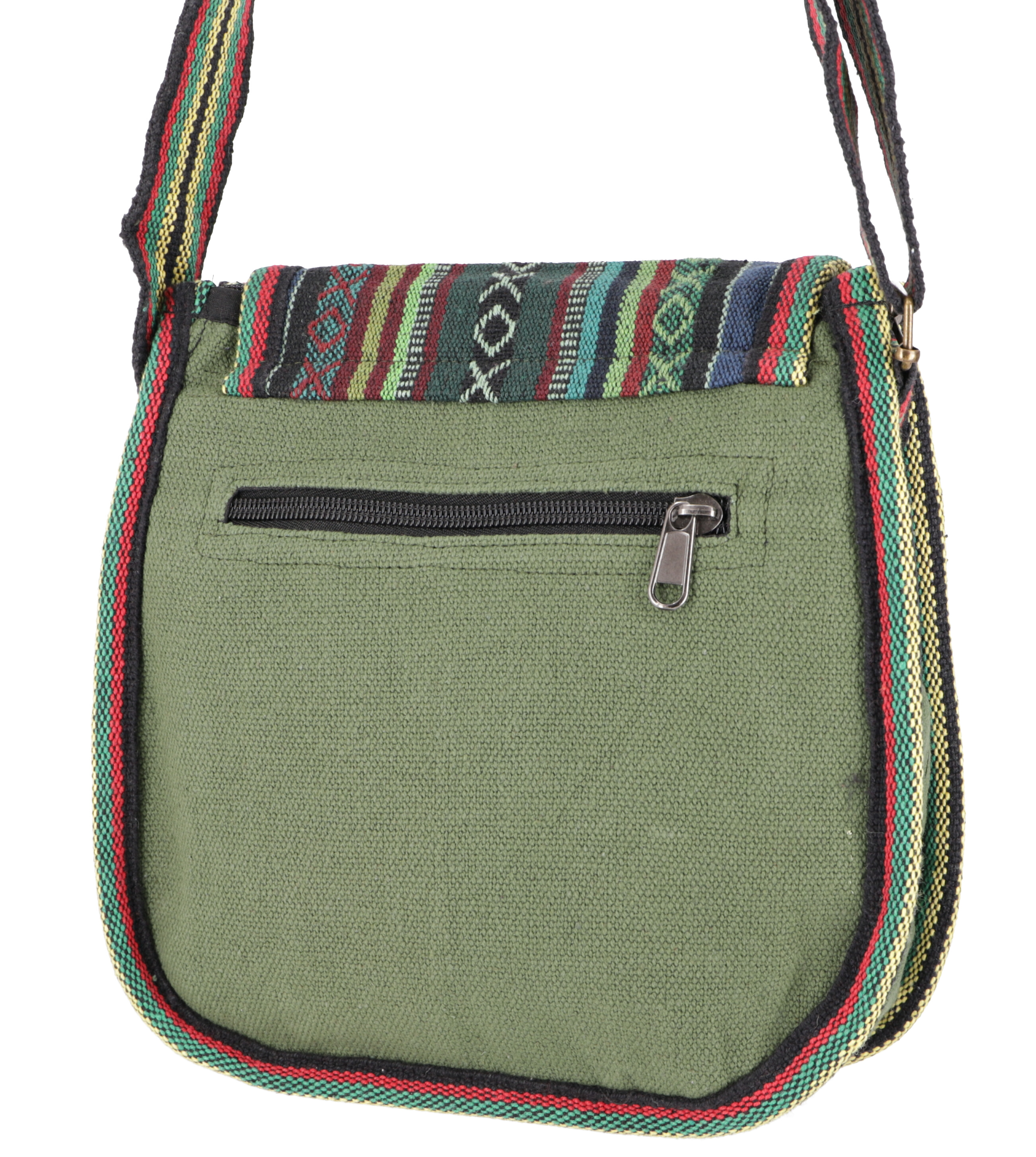 Ethno Shoulder Bag, Boho Bag olive green 26x26x7 cm