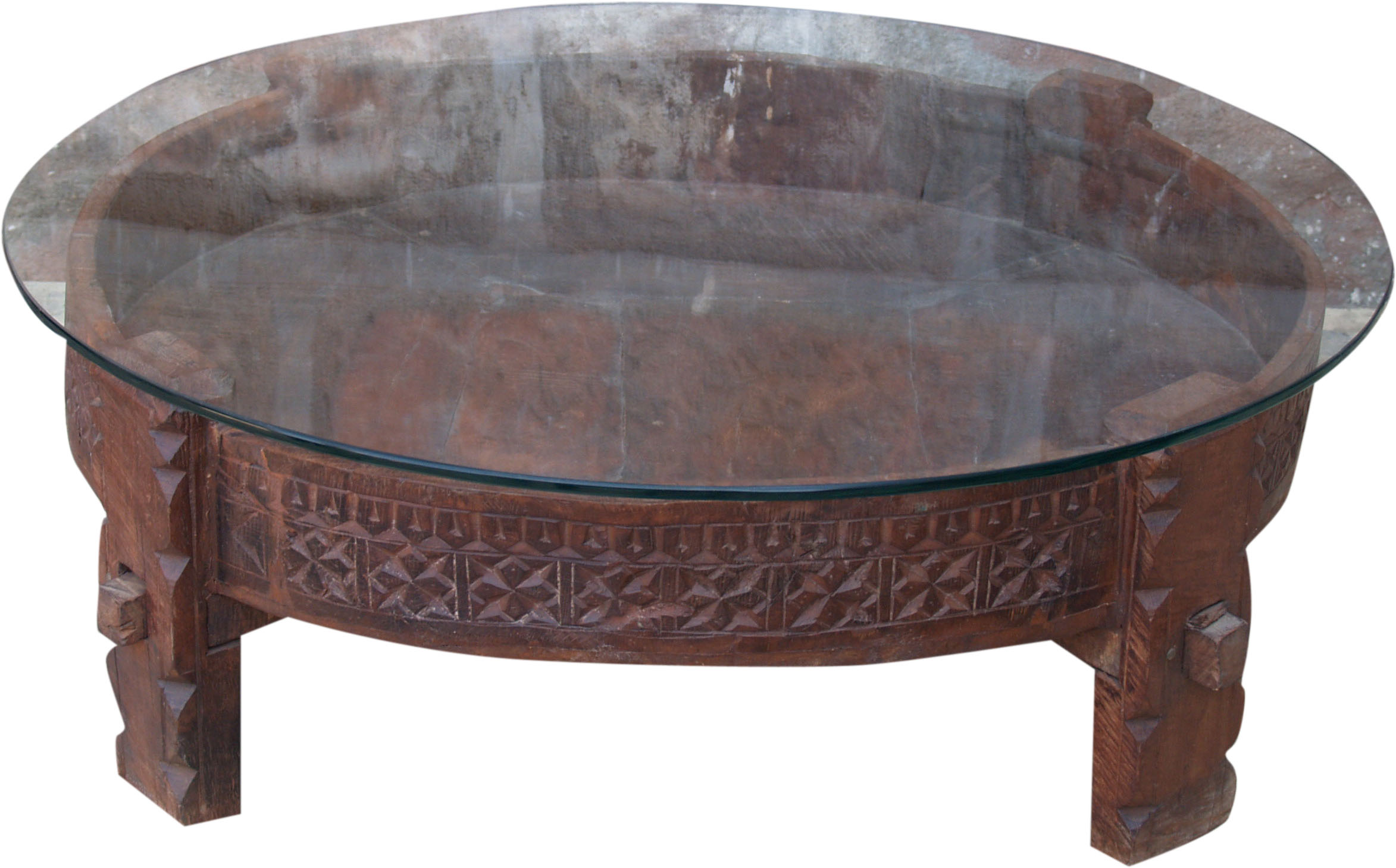 - Round Coffee Table, Coffee Table With Glass Top - 26x80x80 Cm