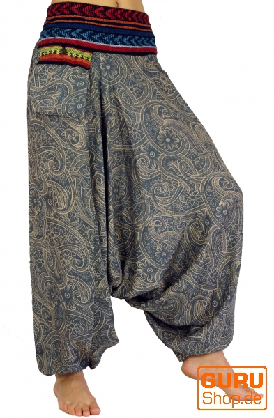 f08a418a2440 Bedruckte Haremshose, Pluderhose mit breitem gewebtem Bund - taubenblau