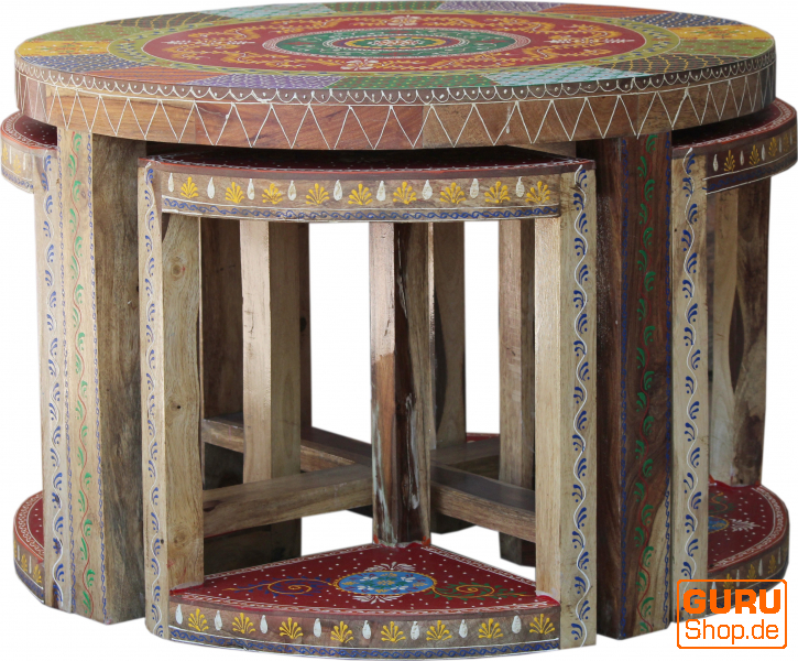 Coffee Table Coffee Table 4 Stools Set With Decorations 52x75x75 Cm