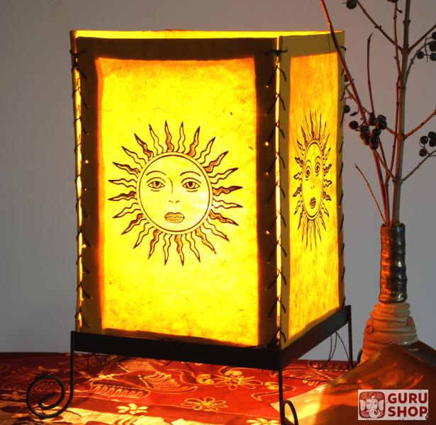 Lokta Papier Tischlampe Eckige Tischleuchte Sonne Gelb 35x20x20 Cm