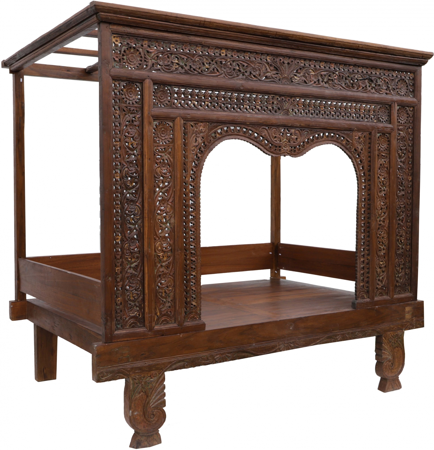 - Historic Four-poster Bed, Teak Daybed - Model 4 - 210x228x150 Cm